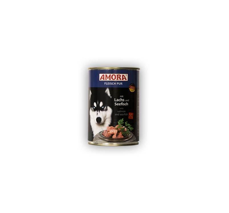 Amora консервы для собак - c лососем и озерной рыбой 400г