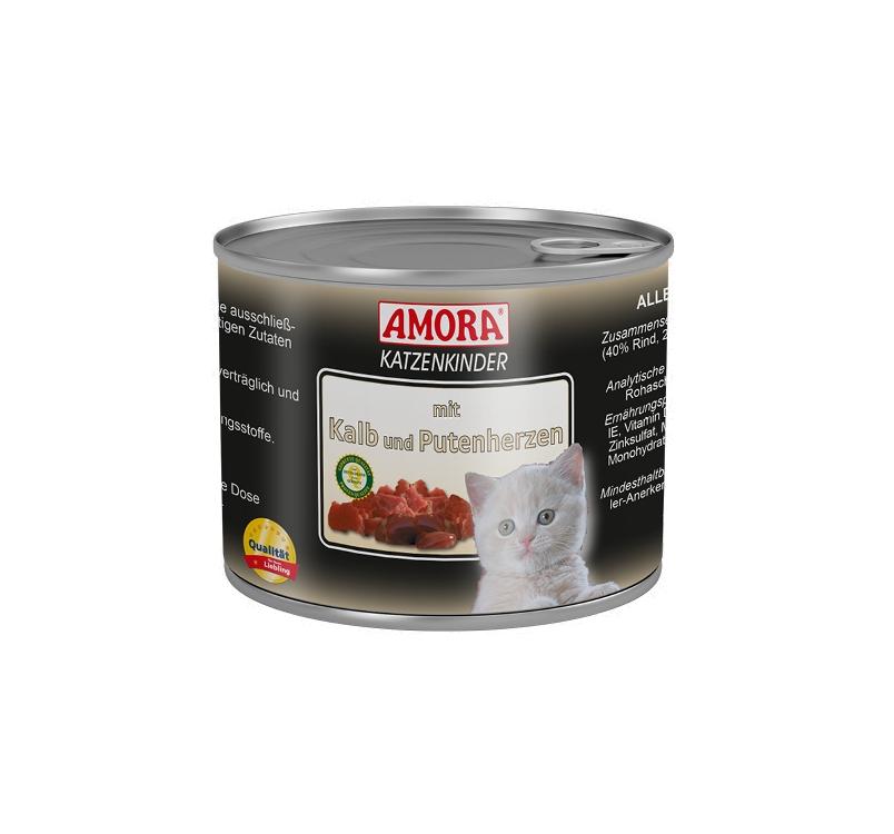 Amora Консервы для котят -  Телятина и сердце индеики 200г