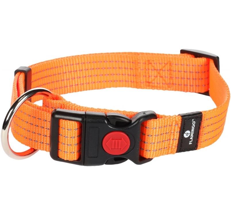Adjustable Orange Nylon Collar with Reflector 45-65cm / 25mm