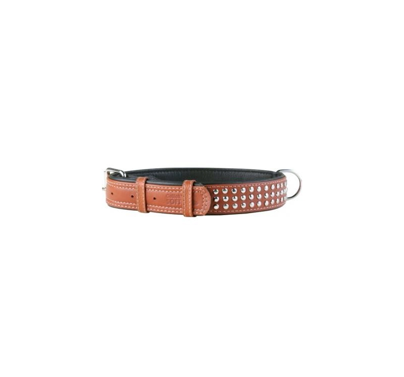 Leather Collar with Metal Decorations Brown 35mm x 46-60cm