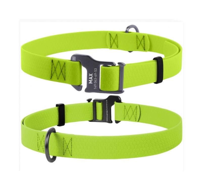 Waudog Waterproof Dog Collar Light Green 25mm x 35-70cm