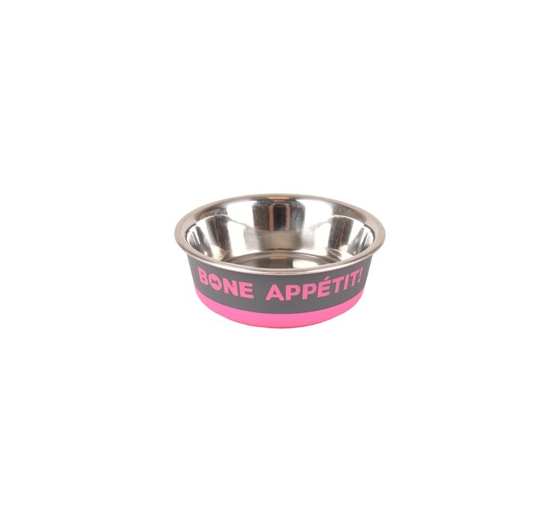 "Bowl ""Bone Apetit"" Pink 400ml 14cm"