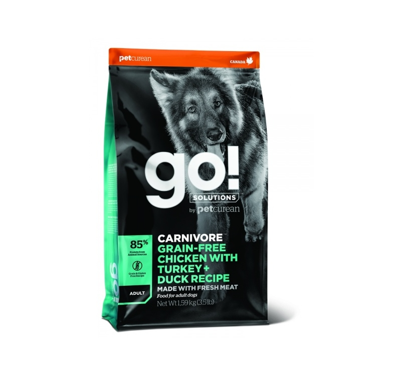 GO! Carnivore Chicken, Turkey + Duck Recipe for Adult Dogs 1,6kg