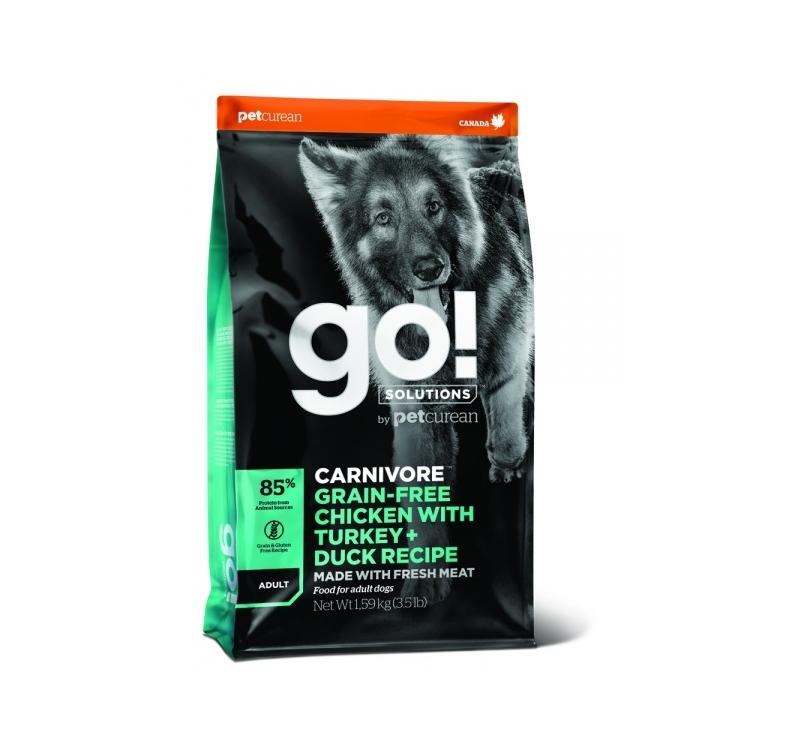 GO! Carnivore Беззерновой корм с курицей, индейкой, уткой и лососем для взрослых собак 10кг