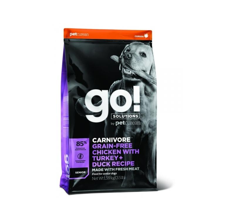GO! Carnivore Беззерновой корм с курицей, индейкой, уткой и лососем для пожилых собак 1,6кг