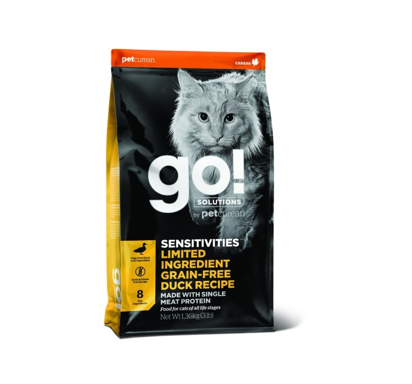 GO! беззерновой для котят и кошек с чувствительным пищеварением, со свежей уткой 3,7кг