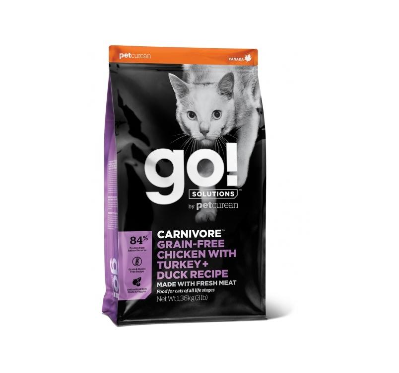 Корм GO! Carnivore для котят и кошек, с курицей, индейкой, уткой и лососем 3,7кг
