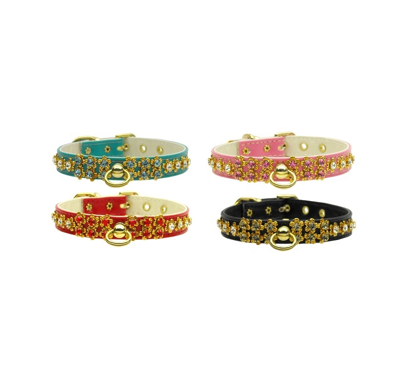 """Collar for Small Dogs with Crystals """"Sunburst"""" 13mm"""