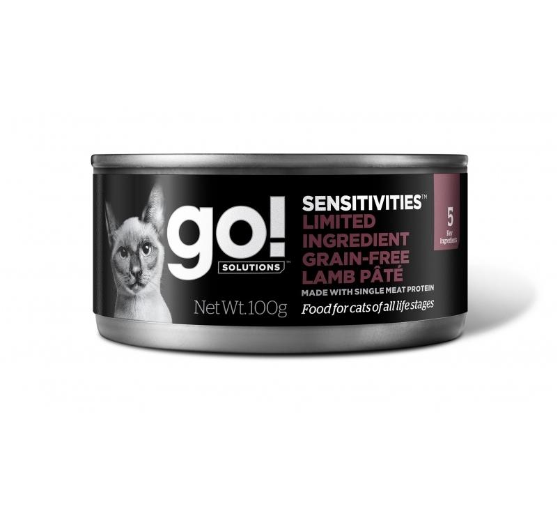 Go! консервы беззерновые с ягненком для кошек с чувствительным пищеварением 100г