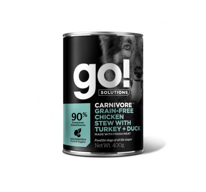 GO! Carnivore консервы беззерновые с тушеной курицей, индейкой и мясом утки 400g