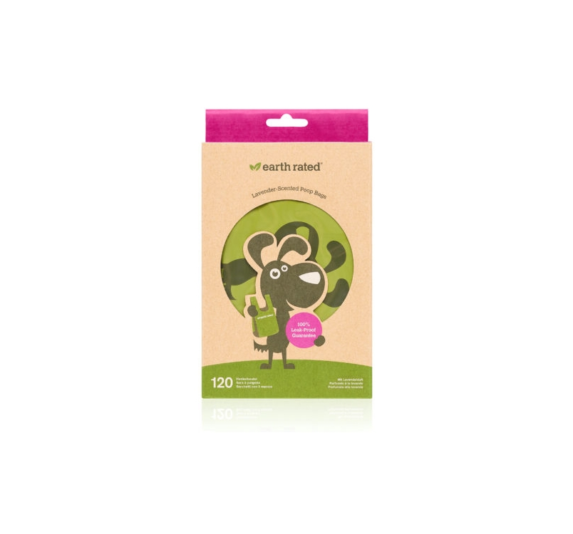 Earth Rated Biodegradable Lavender-scented Poop Bags with Handle 120pcs
