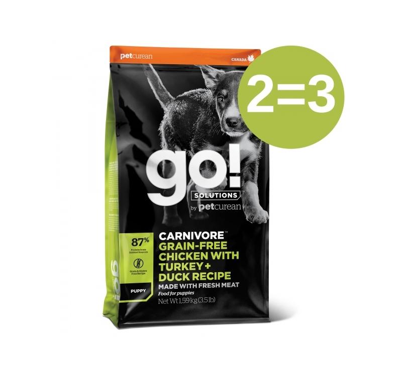 2=3 GO! Carnivore Chicken, Turkey + Duck Recipe for Puppies 1,6kg