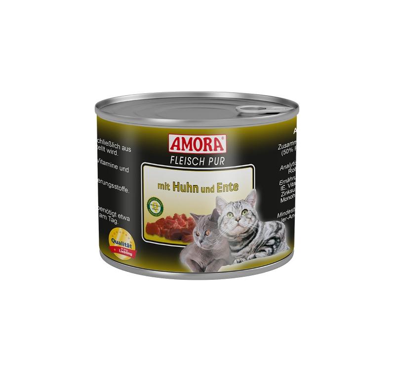 Amora Консервы для кошек - курица и утка 200г