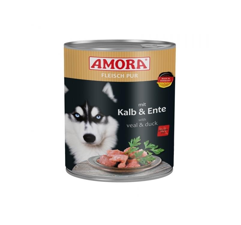 Amora консервы для собак -  теленок и утка 800г
