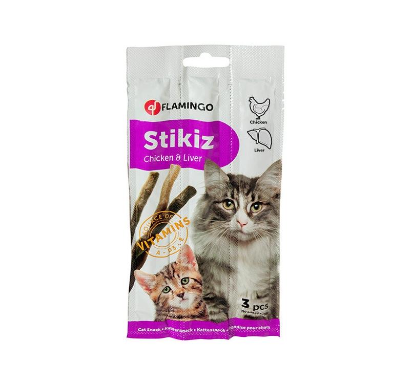 Flamingo колбаски для кошек - курица и печень 3шт