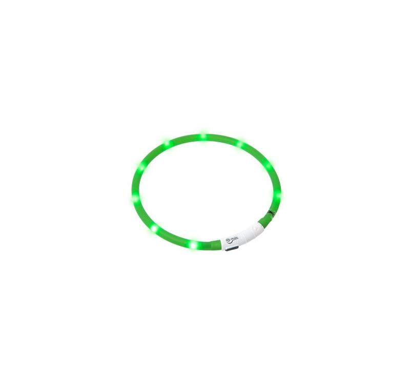 Мигающий (светящийся) ошейник USB, 20-75см, зеленый