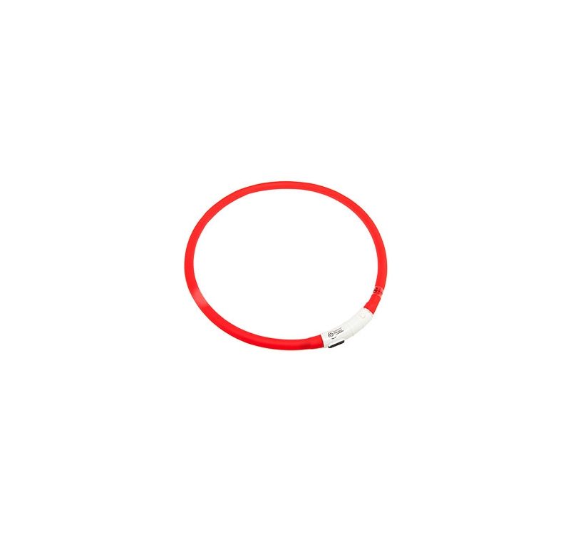 Мигающий (светящийся) ошейник USB, 20-70см, красный
