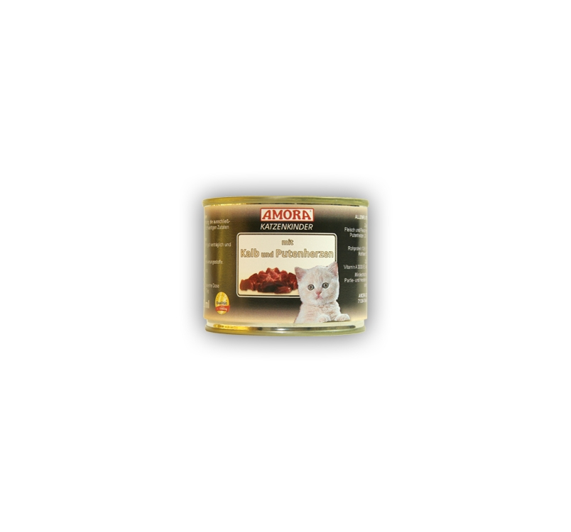 Amora Canned Kitten Food (Calf & Turkey Hearts) 200g