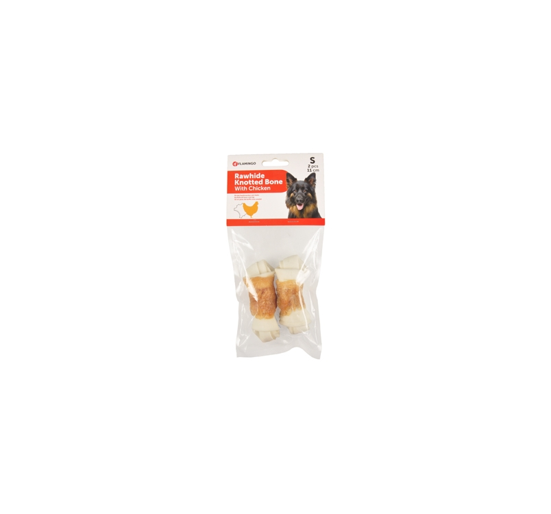 Rawhide Knotted Bone with Chicken (2pcs) 11cm