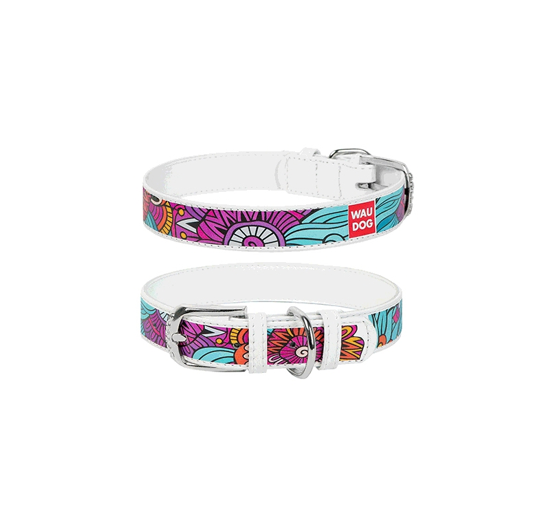 "WAUDOG Collar ""Summer""  25mm x 36-49cm White"