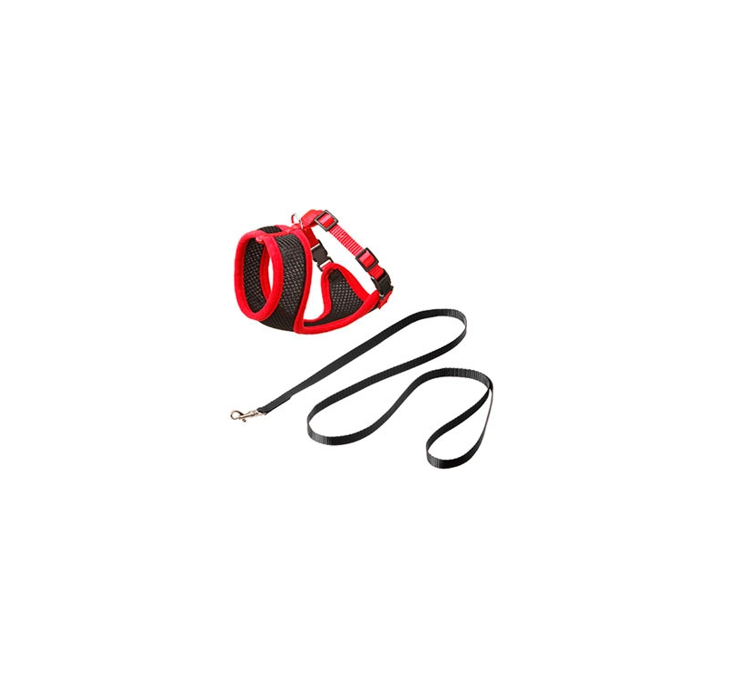 Cat Harness with Leash M 36-48cm Black/Red