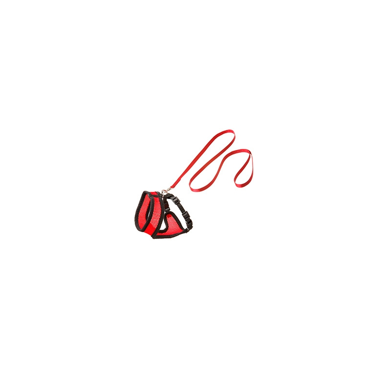 Cat Harness with Leash M 36-48cm Red
