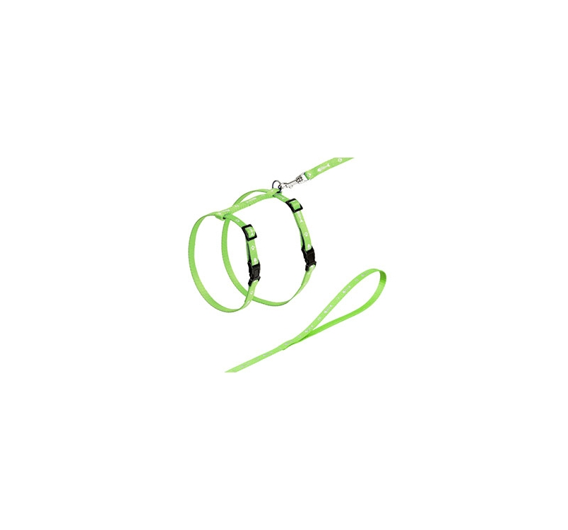 Green Cat Harness with Leash 110cm