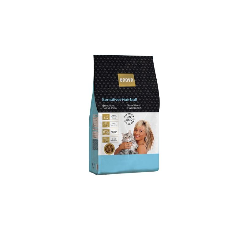 ENOVA Sensitive/Hairball Kassi Täissööt Kala & Riisiga 1,5kg