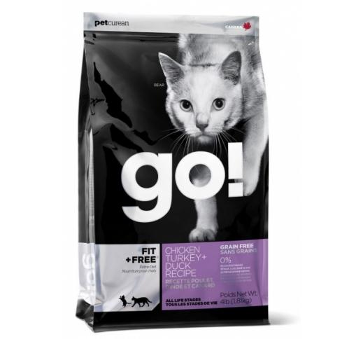 GO! Fit+Free Teraviljavaba Kuivtoit Kana, Kalkuni & Pardiga Kassile  1,81kg