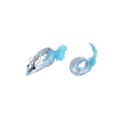 Cat Toy Blinky Mouse + Ball with Feathers