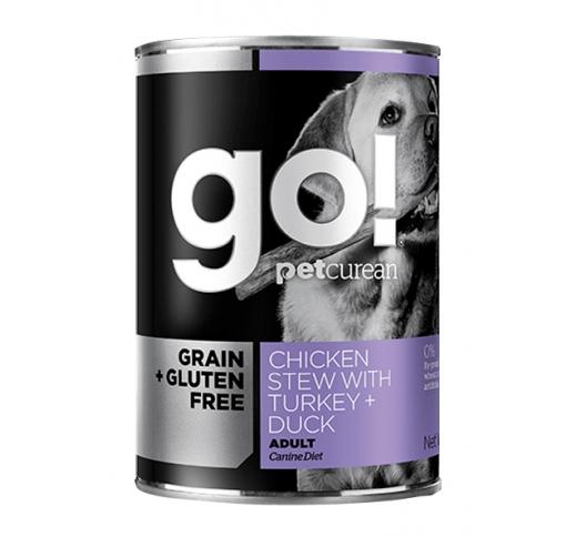 GO! консервы беззерновые с тушеной курицей, индейкой и мясом утки 400g