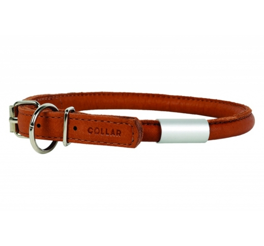 Leather Round Collar with Tag Brown 8mm x 25-33cm