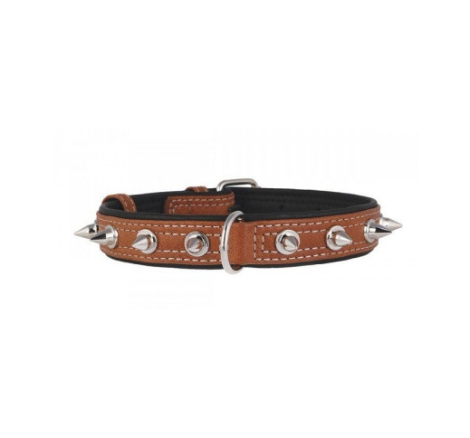 Leather Collar with Metal Spikes Brown 25mm x 38-4*9cm