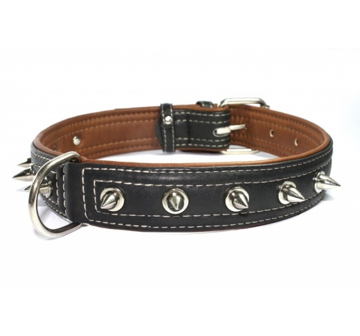 Leather Collar with Metal Spikes Black 35mm x 46-60cm