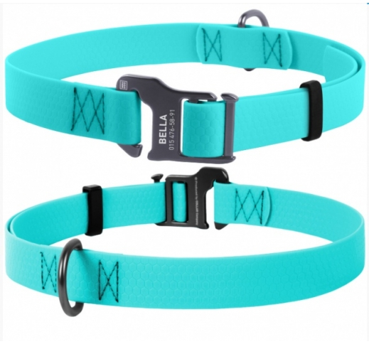 Waudog Waterproof Dog Collar Mint (Glows in the dark) 25mm x 35-70cm
