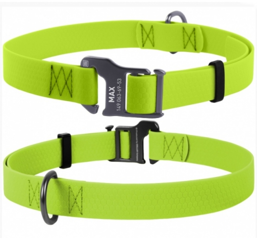 Waudog Waterproof Dog Collar Light Green 25mm x 35-70cm