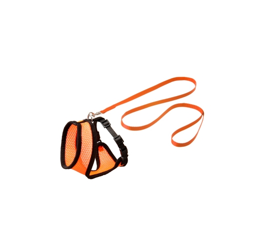 Cat Harness with Leash S 32-41cm Orange/Black