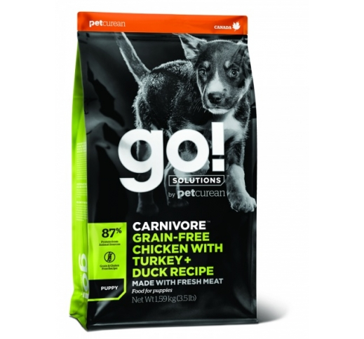 GO! Carnivore Chicken, Turkey + Duck Recipe for Puppies 1,6kg, BB 14/03/21