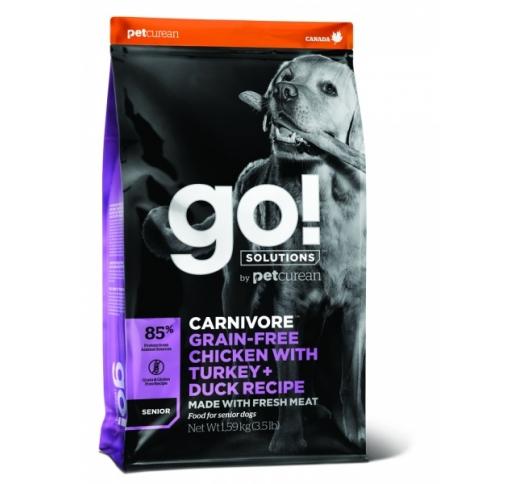 GO! Carnivore Kana, Kalkun + Part Kuivtoit Seenior Koerale 1,6kg