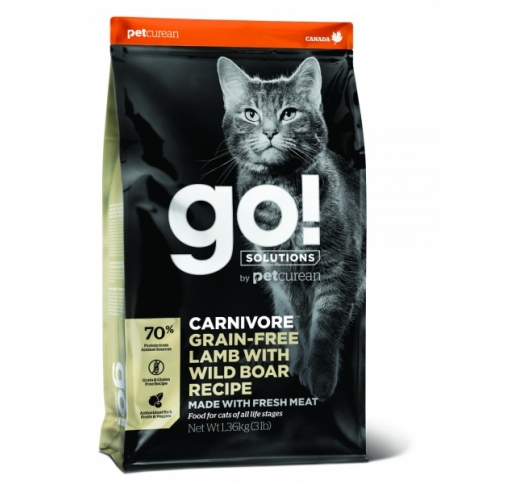 GO! Carnivore Lamb with Wild Boar Recipe for Cats & Kittens 1,4kg, BB 31/01/21