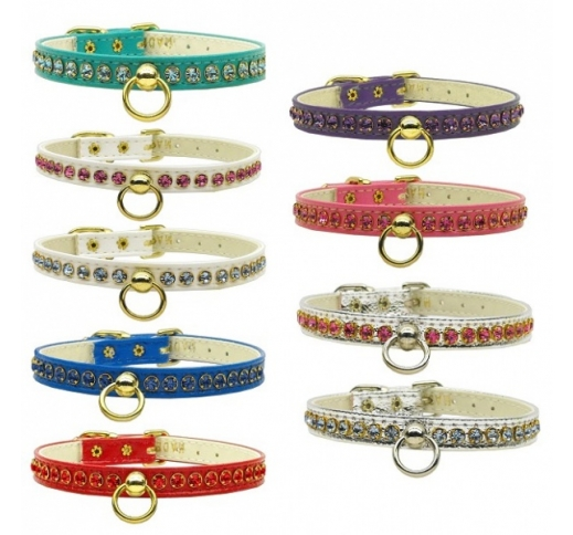 "Collar for Small Dogs with Crystals ""Petite"" 11mm"