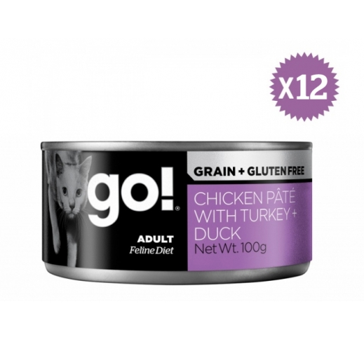 12x Go! Grain Free Chicken, Turkey & Duck Pate 100g 02/09/20
