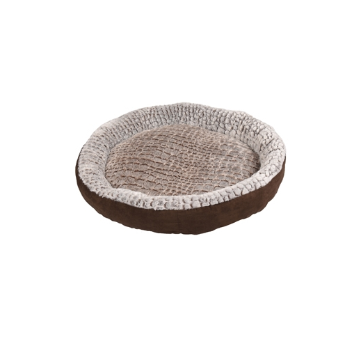 Basket Snoozzy Round Brown/Grey 90x18cm