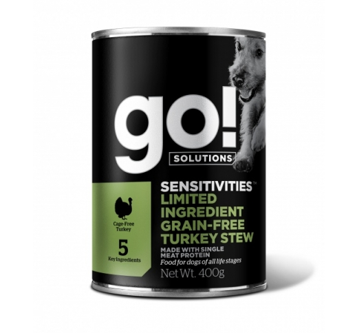 GO! Sensitivities консервы беззерновые с тушеной  индейкой 400g