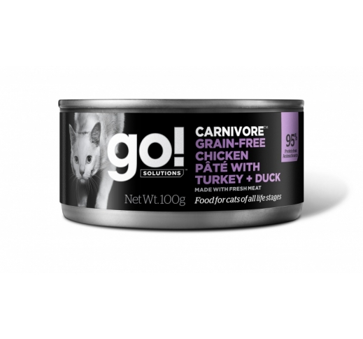 GO! Carnivore Chicken, Turkey + Duck Pate for Cats & Kittens 100g