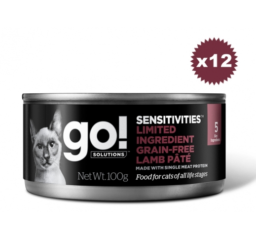 12x Go! Sensitivities Grain Free Lamb Pate for Cats 100g