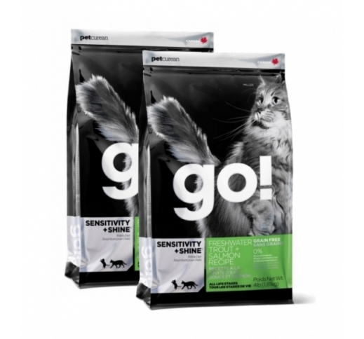 2x GO! Sensitivity+Shine Holistic Grain Free Complete Cat Food 1,81kg