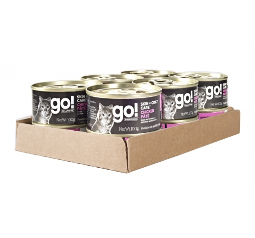 12x Go! Skin + Coat Pate for Cats with Chicken 100g