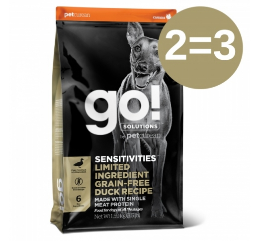 2=3 Go! Sensitivities Grain Free Duck Recipe for Dogs & Puppies 1,6kg 23/01/2021
