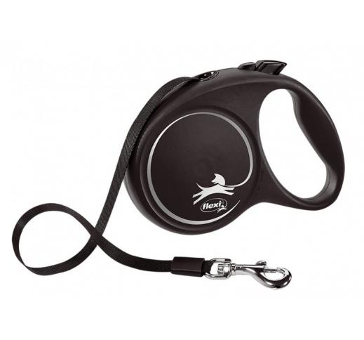FLEXI Рулетка Black Design M ремень 5м, 25кг, черный